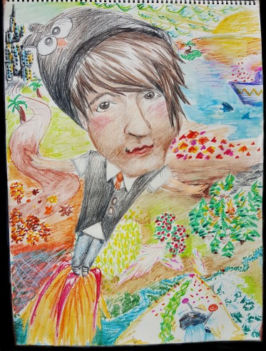 a caricature of Owl City.